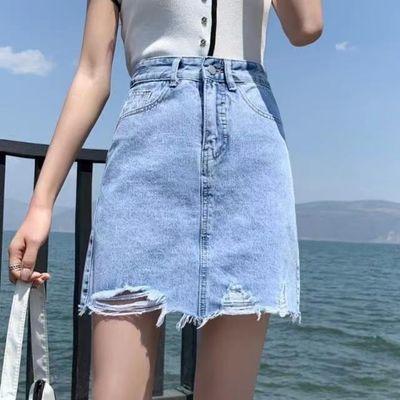 61012/2021新款高腰牛仔半身裙短裙女夏季a字包臀破洞毛边ins超火裙子潮
