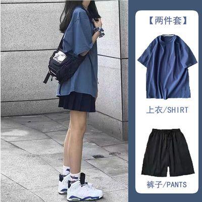 63323/单/套装2021年夏季时尚运动套装女学生宽松短袖短裤休闲两件套