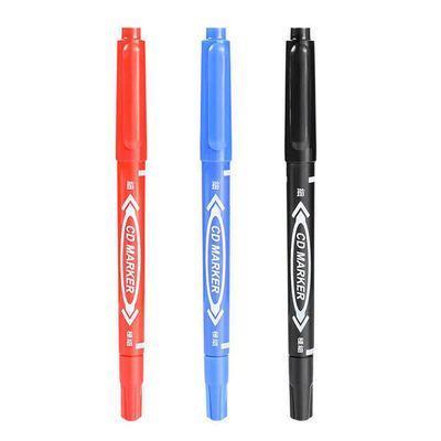 油性记号笔水性勾线笔不褪色黑色三色小双头勾线学生描边笔不掉色