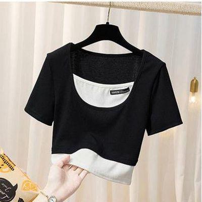 新款女T恤时尚修身纯棉短袖打底衫女生假两件显瘦显高短款上衣【7月10日发完】