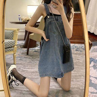 64385/小个子显高减龄宽松牛仔背带裙女学生高腰显瘦气质连衣短裙子夏潮
