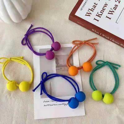 韩同款可爱彩色磨砂小球发绳少女百搭发圈儿童丸子头绳皮筋