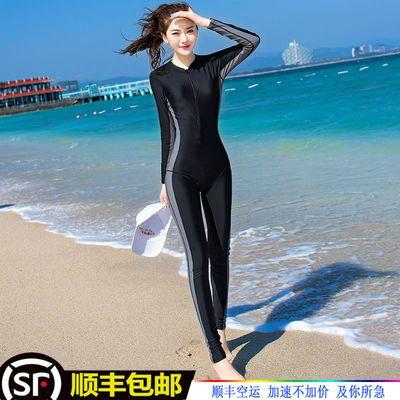 51223/2021年夏新款泳衣女连体保守显瘦长袖长裤防晒运动大码温泉游泳衣