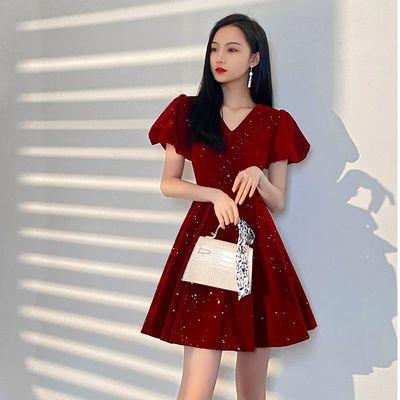 73875/小个子新娘敬酒服2021新款优雅结婚回门订婚红色晚礼服女平时可穿