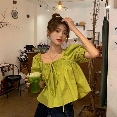 64409/泡泡袖衬衫方领上衣夏季2021新款小个子短袖绿色小众洋气小衫女装