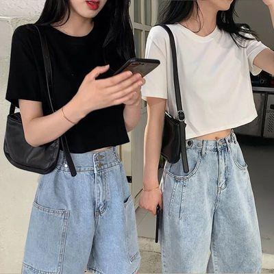 性感露肚脐短款t恤女2021夏装新款学生百塔纯色圆领短袖ins上衣服