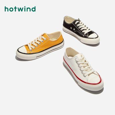 72928/热风帆布鞋女学生韩版百搭低帮板鞋新款ins学院风小白鞋H14W0566