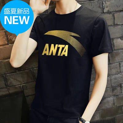 品牌2021夏季新款纯棉短袖T恤宽松透气休闲运动圆领男士上衣潮流
