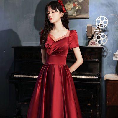 60380/敬酒服新娘2021新款酒红色气质显瘦订婚连衣裙修身晚礼服平时可穿