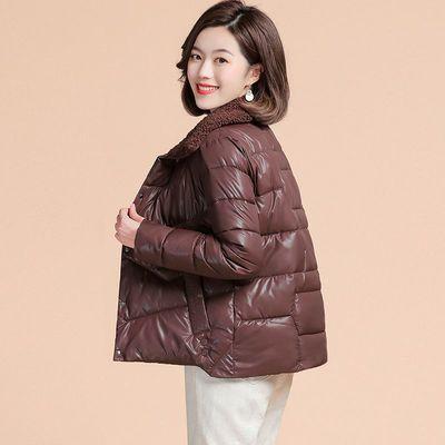 90532/棉服2021新款女冬季时尚加绒羊羔毛棉衣女士短款外套小个子棉袄女
