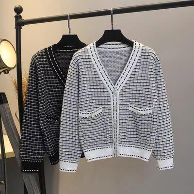 77405/2020秋季新款小香风针织开衫毛衣外套女宽松格子条纹外穿上衣女潮