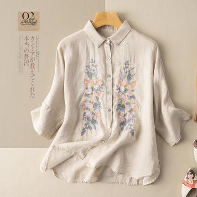 61829/七分袖棉麻衬衫文艺复古刺绣棉麻衬衣女民族风设计感小众夏季新款
