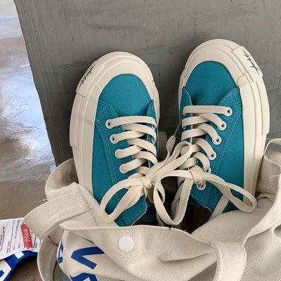 68862/帆布鞋女ulzzang百搭2021年新款夏季薄款板鞋ins潮小众设计感鞋子