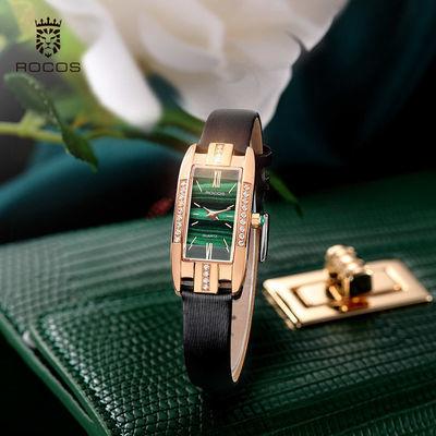 68331/雷克斯正品牌韩版ins风小绿表方形气质时尚潮流皮带手表女表防水