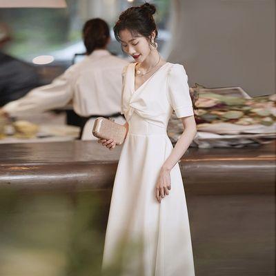 71835/白色小礼服平时可穿法式登记领证小白裙宴会气质夏季缎面晚礼服裙