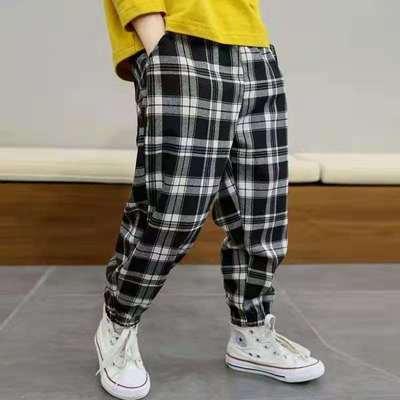 童装2021夏季新款男童休闲裤中小童运动长裤格子裤子韩版潮