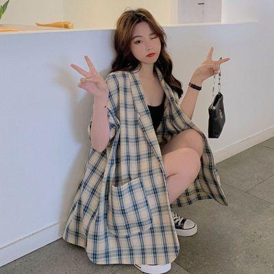 格子西装套装女夏薄气质韩版短裤两件套2021新款洋气减龄时尚休闲