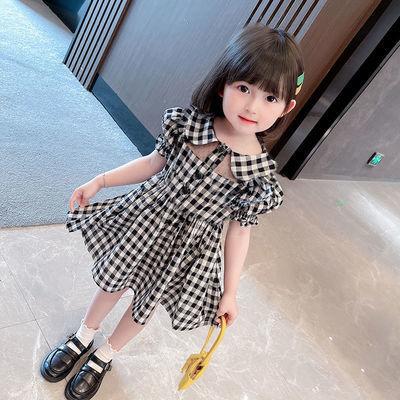 童装2021夏季新款女童连衣裙洋气韩版宝宝翻领格子短袖镂空裙子