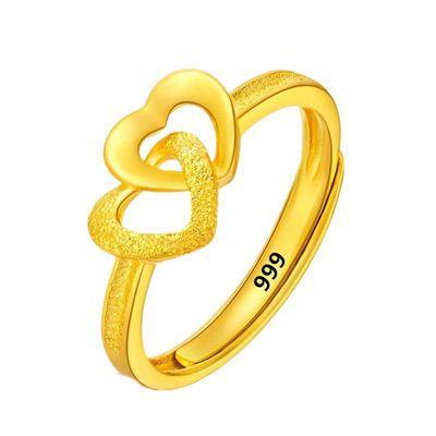 【大捡漏】真金戒指女款爱心戒指活口双心戒指开口调节送女友礼物