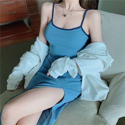 韩版气质chic风性感细肩带V领吊带裙子纯色修身长款露背连衣裙女