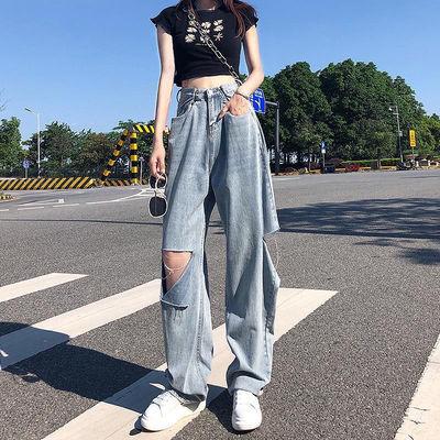 62211/破洞牛仔裤女夏季薄款直筒宽松泫雅小个子阔腿高腰垂感老爹裤