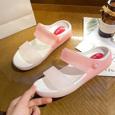 70595/洞洞鞋女夏季韩版护士小清新透明水晶软底一字拖鞋女果冻鞋潮凉鞋