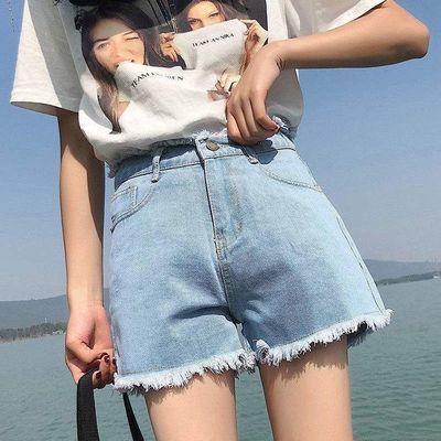 高腰牛仔短裤女夏2021新款宽松显瘦百搭阔腿a字热裤外穿潮