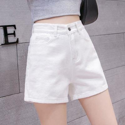 牛仔短裤女夏2021新款白色韩版高腰显瘦大码学生宽松A字百搭热裤