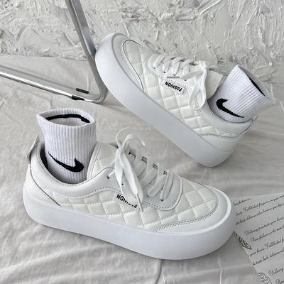 57507/小白鞋女夏季薄款2021新款原创小众帆布板鞋ulzzang百搭学生厚底