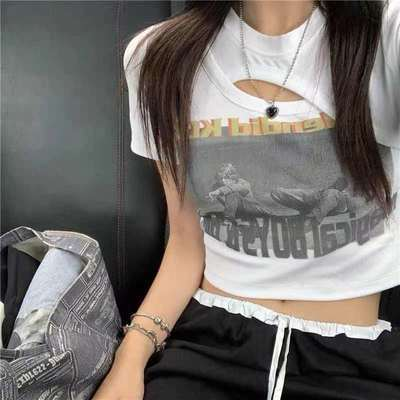 57484/短款印花T恤女2021夏季新款美式复古修身镂空设计感小众短袖上衣