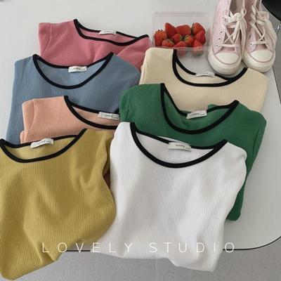 韩版夏季2021年新款女装圆领短袖T恤修身显瘦基础针织冰丝上衣潮