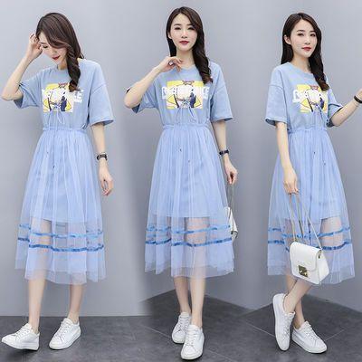 两件套网纱连衣裙短袖2021夏季新款韩版时尚仙女很仙的套装裙子