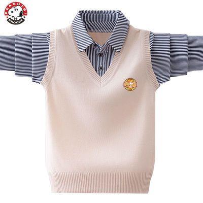 史努比男童针织毛衣背心假两件2021新款纯棉线衣春秋装男孩小学生