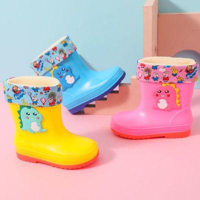 卡通可爱儿童雨鞋女童中筒防水防滑雨靴小童幼儿宝宝加绒保暖水鞋