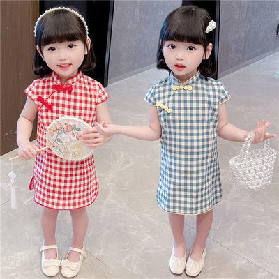 儿童旗袍连衣裙春夏季2021新款女童格子旗袍裙