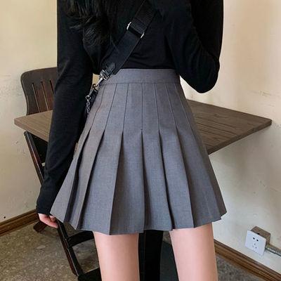 灰色百褶裙半身裙女夏季高腰短裙jk学院风显瘦防走光西装a字裙子
