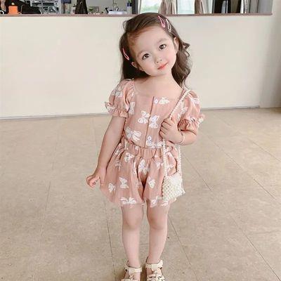 2021女童装夏装新款蝴蝶结韩版儿童薄款套装宝宝洋气夏季小孩衣服