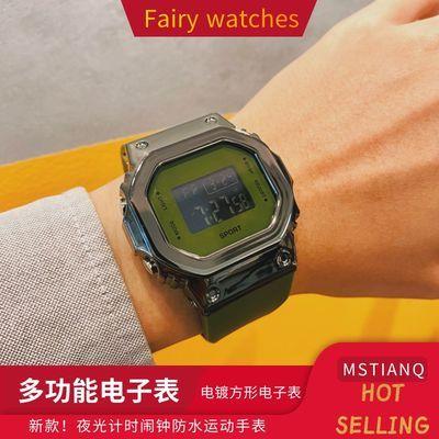 新款方形电子表ins原宿风学生韩版简约网红爆款防水夜光运动手表