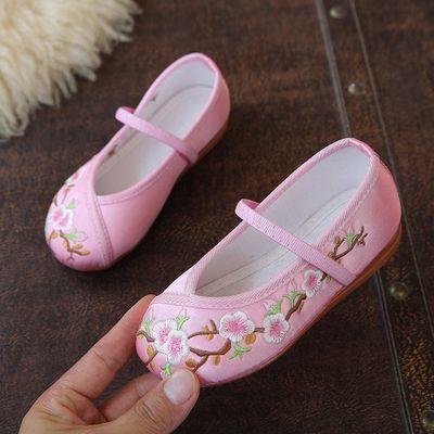 75119/汉服鞋女童绣花鞋儿童古装古风中国风老北京手工布鞋宝宝舞蹈演出