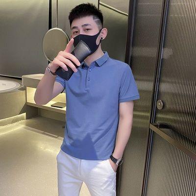 53570/polo衫男韩版潮流夏季薄款纯色短袖2021新款潮牌简约百搭翻领t恤