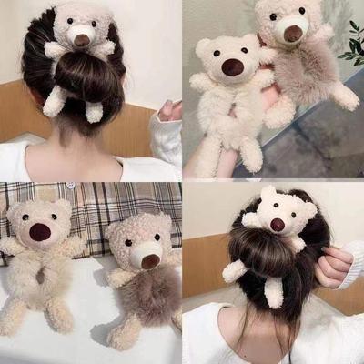 71437/可爱熊抱~小熊头绳毛绒发圈头饰发饰品盘发神器女扎头发皮筋发绳