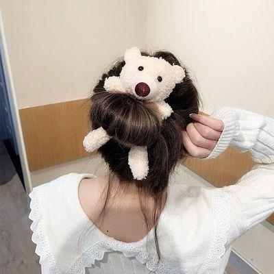 抖音爆款可爱小熊毛绒发圈女生甜美系发绳时尚头绳网红头饰发饰