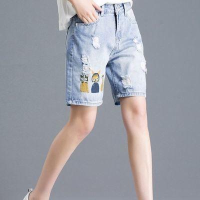 55081/破洞水洗牛仔短裤女夏季新款网红宽松a字显瘦显高韩版毛边裤子女