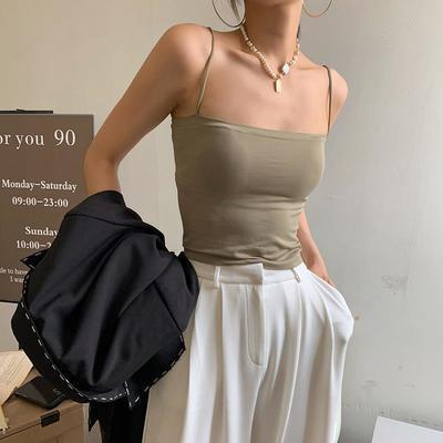 88677/纯色吊带背心女外穿上衣带胸垫一体式防下垂内搭聚拢文胸内衣抹胸