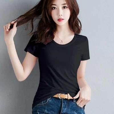 女装2021年夏季新款短袖t恤女白色纯棉短款黑色宽松t桖上衣薄