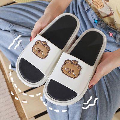 79049/拖鞋女款夏季卡通动漫熊情侣百搭潮流一字拖学生外穿防滑舒适凉拖