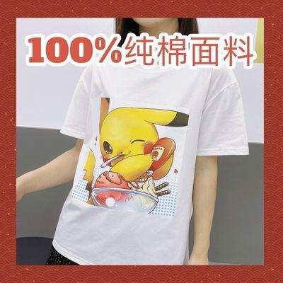 纯棉T恤短袖女2021新款潮流韩版卡通印花宽松大码简约时尚休闲ins