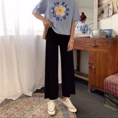 休闲运动短裤黑色五分裤女学生2021夏新款短裤九分裤高腰阔腿裤女