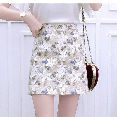 65961/2021夏新款女印花半身裙A字高腰显瘦包臀气质优雅中国风古典短裙