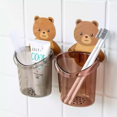 贴墙小熊牙刷架卫生间置物架壁挂沥水卡通墙上收纳杯滤水简易简约